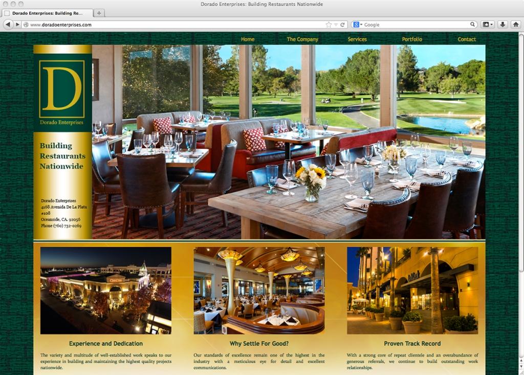 Dorado Enterprises website screenshot. Design and layout by Phoenix Moirai.