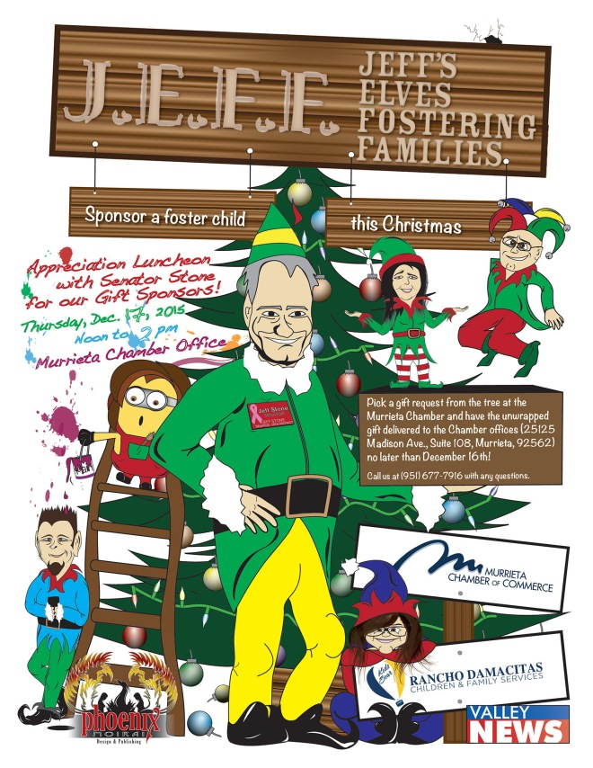Sponsor a foster child this Christmas with Senator Jeff Stone, the Murrita Chamber of Commerce and Rancho Damacitas. Artwork by Bryan Caron (©2015 Phoenix Moirai)